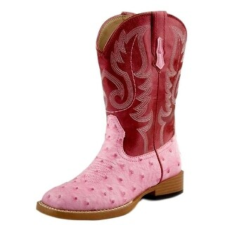 Roper Western Boots Girls Ostrich Faux Child Pink 09-018-1900-0051 PI
