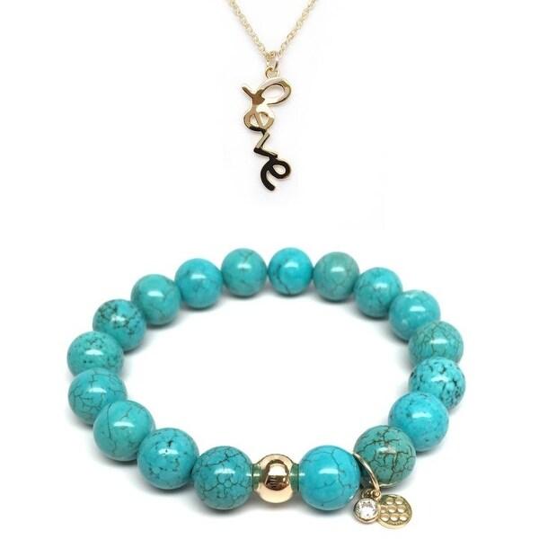 "Turquoise Magnesite 7"" Bracelet & Love Gold Charm Necklace Set"