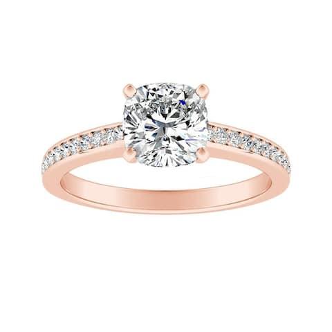 Auriya 3/4ct Cushion-cut Moissanite and Diamond Engagement Ring 14k Gold 1/6ct TDW