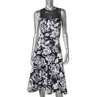 Aqua Womens Floral Print Knee-Length Cocktail Dress