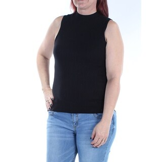 BAR III $39 Womens New 1238 Black Jewel Neck Sleeveless Casual Sweater L B+B