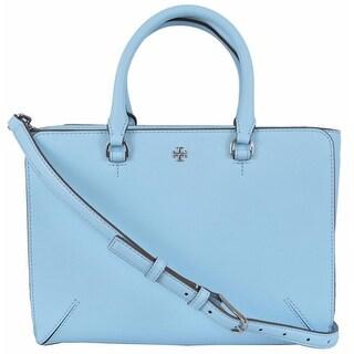 Tory Burch Blue Leather Robinson Small Zip Convertible Tote Purse Handbag - 10.76 x 7.97 x 3.59