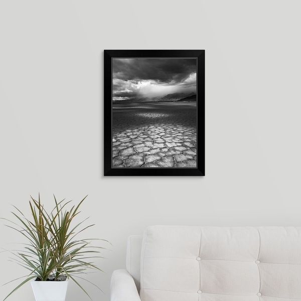 """""""A rainstorm travels over Steens Mountain as seen from the Alvord Desert in Oregon."""" Black Framed Print"""