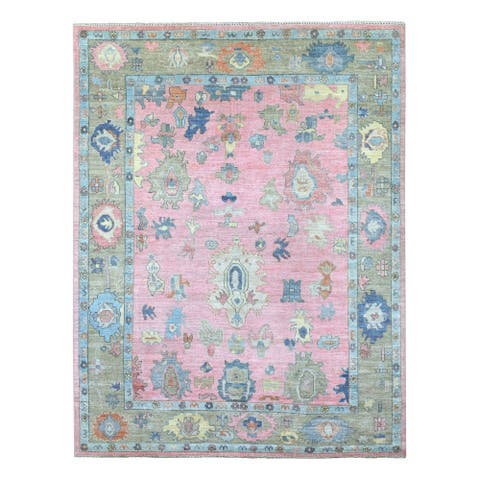 """Shahbanu Rugs Hand Knotted Pure Velvety Wool Oushak Pink With Colorful Motifs Oriental Rug (7'10"""" x 10'4"""") - 7'10"""" x 10'4"""""""