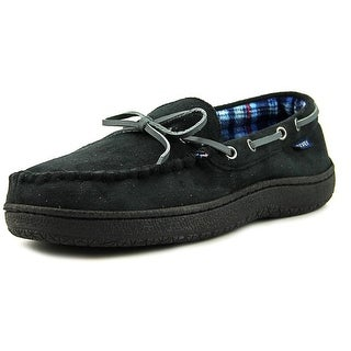 Jockey Shearling Plaid Lined Moccasin Men  Moc Toe Synthetic Black Slipper