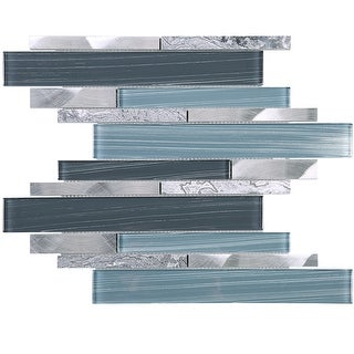 TileGen. Brick Random Sized Mixed Material Mosaic Tile in Blue/Grey Wall Tile (10 sheets/10sqft.)