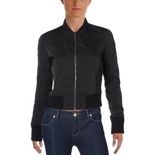 Theory Womens Daryette Bomber Jacket Ribbed Trim Slit Pockets