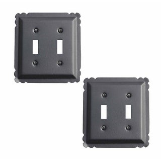 2 Switchplate Black Steel Double Toggle