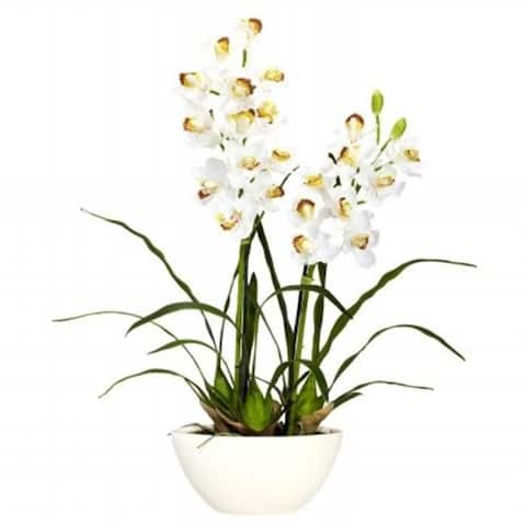 Nearly Natural 4803 Cymbidium with White Vase Silk Flower Arrangement
