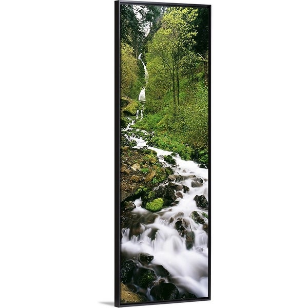 """""""Wahkeena Waterfall Columbia Gorge OR"""" Black Float Frame Canvas Art. Opens flyout."""