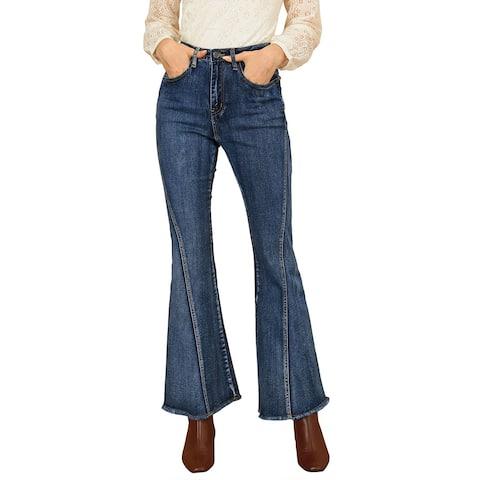 Women's Vintage High Waist Denim Bell Bottoms Jeans