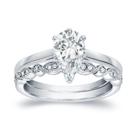 Auriya 14k Gold 7/8ctw Vintage Pear Shape Solitaire Diamond Engagement Ring Set