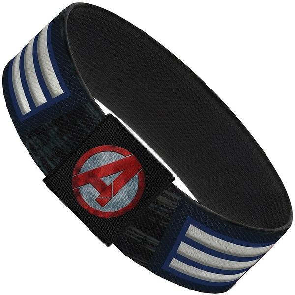 Marvel Avengers Captain America Shield Close Up Stripes Blues White Red Elastic Bracelet