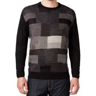Weatherproof NEW Black Men Size 3XL Long-Sleeve Crewneck Knitted Sweater