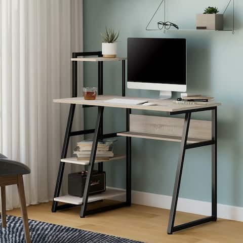 FITUEYES Home Office Writing Table with Bookshelf