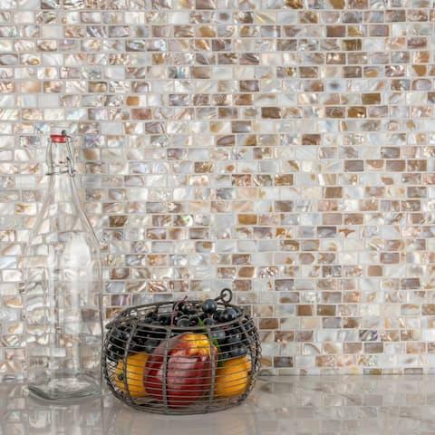"""SomerTile Conchella Subway Natural 12.25"""" x 12.5"""" Natural Seashell Mosaic Tile"""