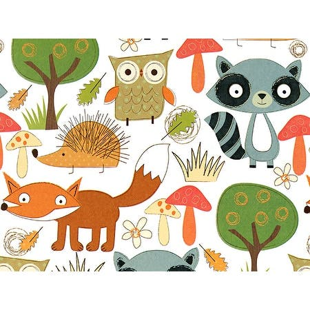 """Pack Of 1, 24"""" x 85' Forest Friends Gift Wrap Roll For Approximately 50 Gifts Made In USA - Animals"""