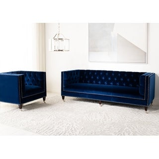 Link to Safavieh Couture Miller Navy Velvet Tufted Commercial Grade Sofa Similar Items in Sofas & Couches