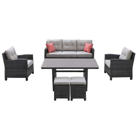 Ove Decors Bellamare 6-Piece Outdoor Conversation Set in Gray