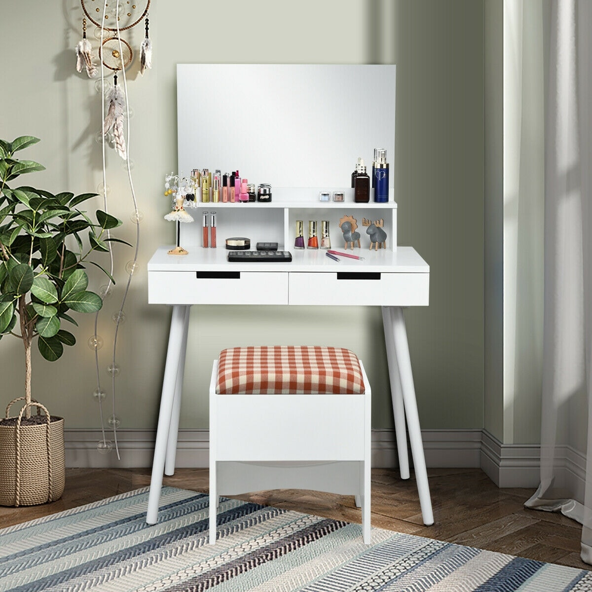 Gymax Vanity Table Cushioned Storage Stool Set W Large Mirror Makeup Dressing