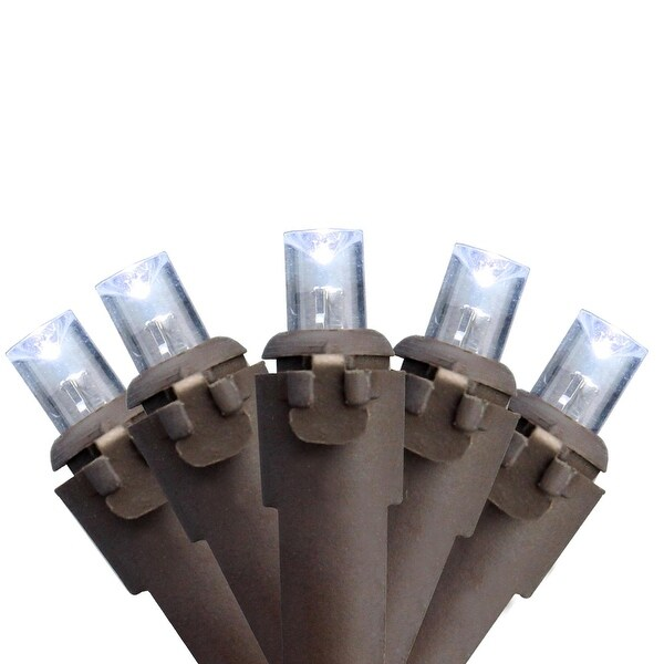 Set of 60 Cool White LED Wide Angle Christmas Lights - Brown Wire - CLEAR