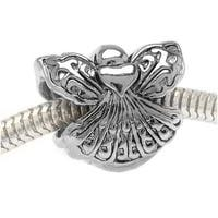 Silver Tone Two Sided Angel With Heart - European Style Large Hole Bead (1)