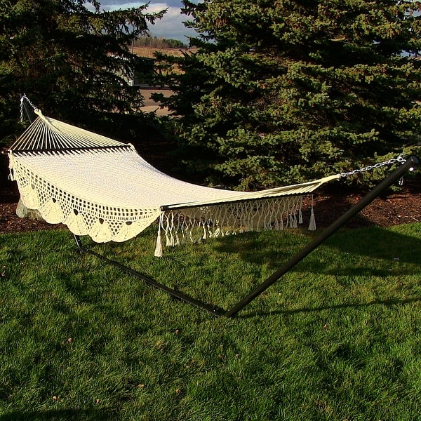 Sunnydaze American DeLuxe Style Mayan Hammock or Hammock w/ Stand Option - Antique White