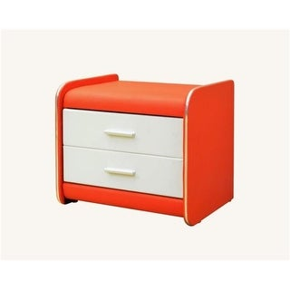 Greatime 15.7 x 20.7 in. Red & White Two Draws Vinyl Nightstand