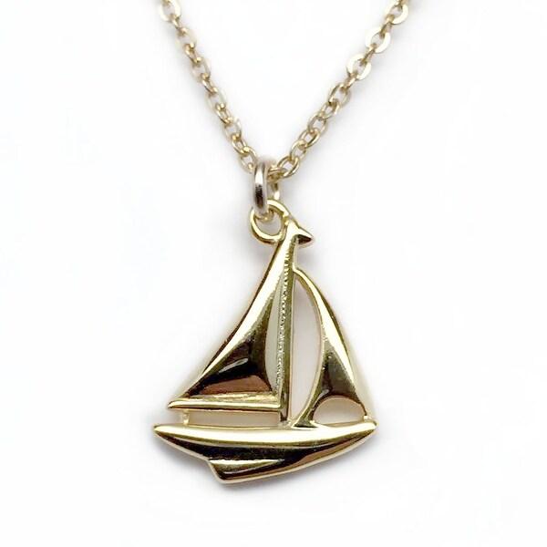 "Julieta Jewelry Sailboat Gold Charm 16"" Necklace"