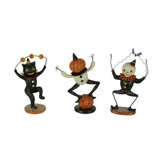 Pumpkin Peeps Dancing Cat Ghost and Pumpkin Figurines Set of 3 - 8.25 X 4.25 X 1.75 inches