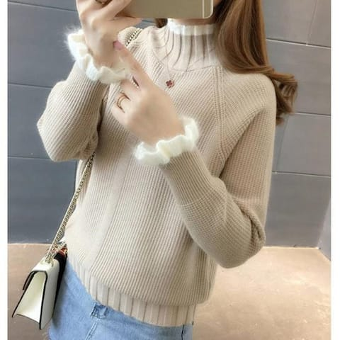 Sleeve Fashion Half Turtleneck Sweater