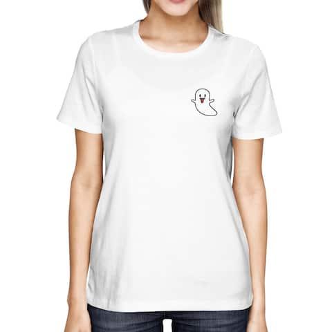 Cute Ghost Pocket Printed Women's Shirt Cute Tee For Halloween