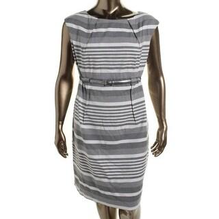 Calvin Klein Womens Plus Striped Sleeveless Wear to Work Dress - 20W