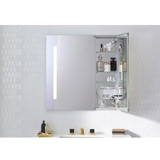 "Robern AC3030D4P2L AiO 30"" x 30"" x 4"" Double Door Medicine Cabinet with Large Door at Left, Task Lighting, and Interior"