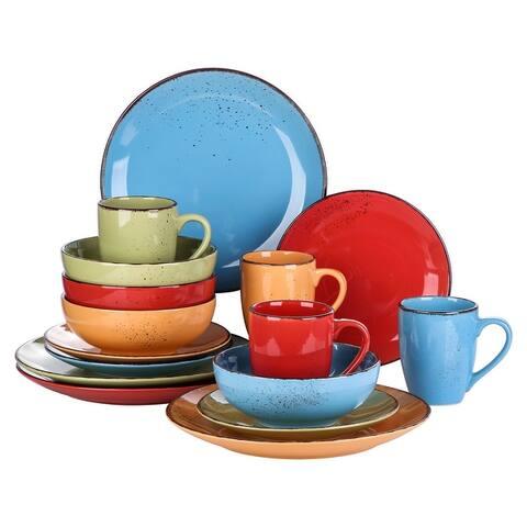 16 Piece Assorted Colors Ceramic Dinnerware Set Plates and Bowls Mugs