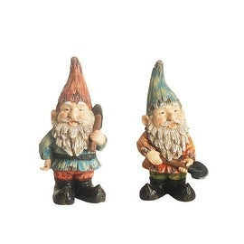 Set of 2 Distressed Blue and Burnt Orange Bearded Gardening Gnomes w/ Tools Outdoor Statues