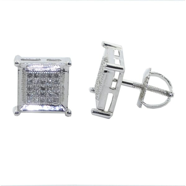 Diamond Earrings 1/5cttw Pave Set 9mm Wide Square Screw Back Mens Fashion By MidwestJewellery - White