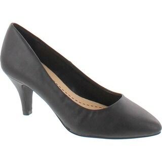 City Classified James Women's Pointed Toe Slip On Mid Heel Basic Dress Pump - Black pu
