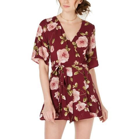 Trixxi Womens Juniors Romper Floral Print Surplice - Wine Floral - M