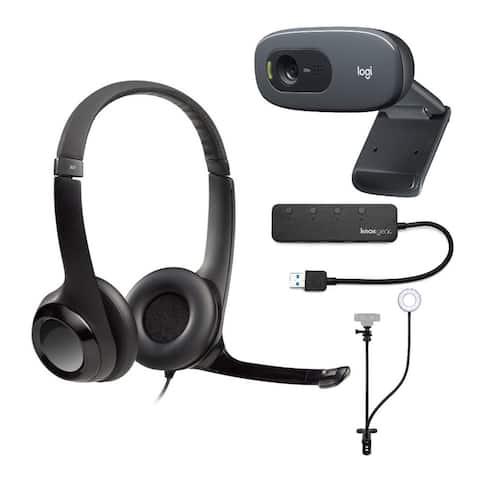 Logitech H390 USB Headset with Desktop Webcam, Webcam Stand & USB Hub