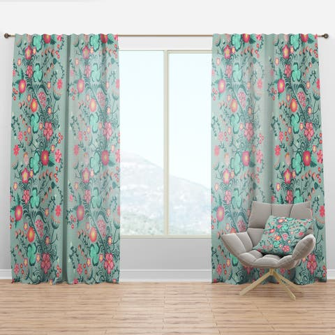 Designart 'Spring floral pattern in soft pastel colors' Mid-Century Modern Curtain Panel