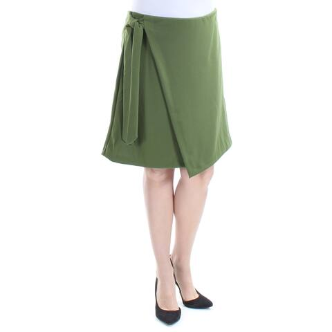 ECI Womens Green Tie Knee Length A-Line Wear To Work Skirt Size: L