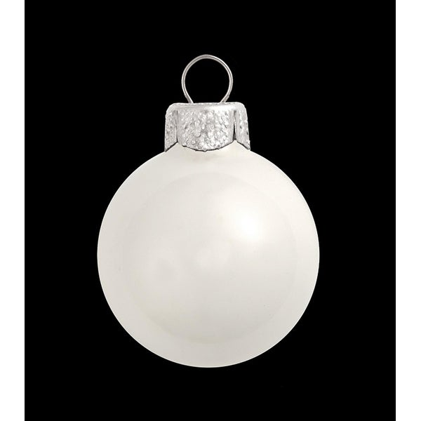 "6ct Shiny White Glass Ball Christmas Ornaments 4"" (100mm)"
