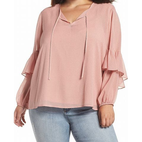 1.STATE Womens Pink Size 2X Plus Check Print Tiered-Sleeve Blouse