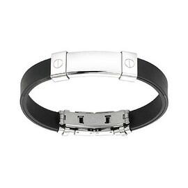 Stainless Steel ID Plate Rubber Bracelet (10 mm) - 7.25 in