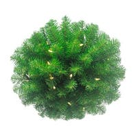 """16"""" Pre-lit Battery-Operated Classic Pine Artificial Christmas Kissing Ball - Warm Clear LED Lights - green"""