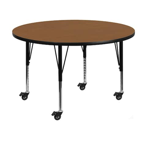 "Offex 48"" Mobile Round Activity Table with Oak Thermal Fused Laminate Top and Height Adjustable Pre-School Legs"