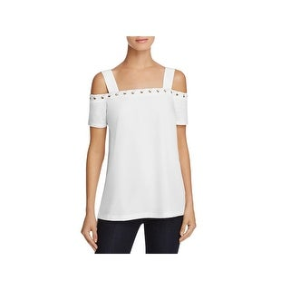 Love Scarlett Womens Casual Top Mixed Media Cold Shoulder
