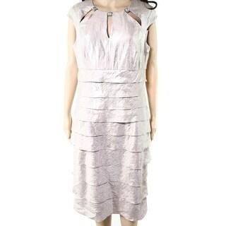 London Times NEW Beige Womens Size 14 Cutout Tiered Sheath Dress