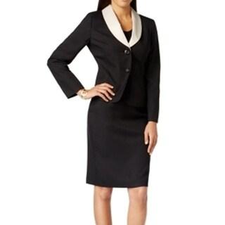 Le Suit NEW Black Beige Women's Size 8 Skirt Suit Contrast Collar Set